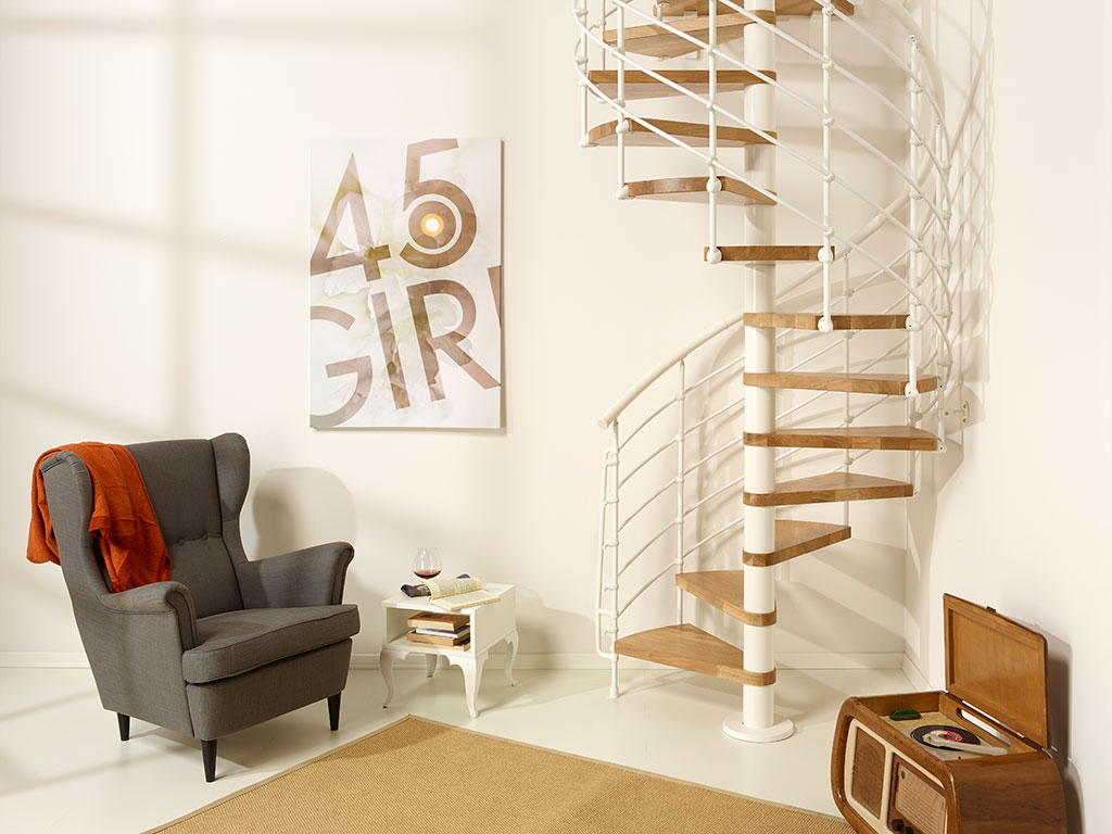 escalier en kit en colima on oak acier et bois massif fontanot. Black Bedroom Furniture Sets. Home Design Ideas